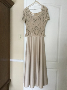 Formal dress-Beige with Pearls