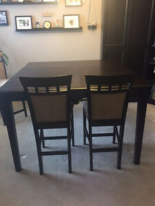 Espresso Counter Height Extendable Table and Four Chairs
