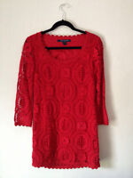 French Connection Red Lace lark Rise Crochet Dress Size 0