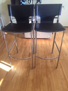 BAR Stools - Set of 2 / Leather & Stainless steel
