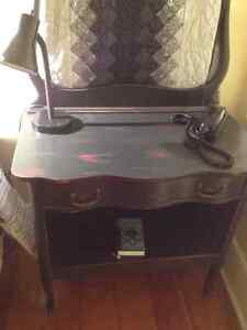Milk paint black one drawer side table, with open shelf Kitchener / Waterloo Kitchener Area image 1