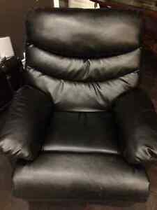 Automatic reclining black leather chair