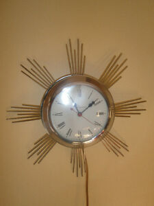 Vintage Sunburst Starburst Ingraham Electric Wall Clock
