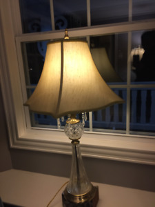 """Glass and crystal table lamp 35"""" x 14.5"""" $40"""