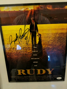 Rudy movie poster print signed by Rudy Ruettiger