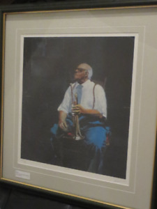 Pair of signed limited edition prints framed  - Jazz musicians