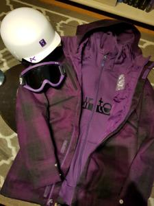 Manteau snow/ski burton, casque et lunettes anon pour femme