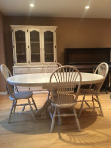 Antiqued Oak Table, 6 Chairs, and Antiqued Oak Hutch