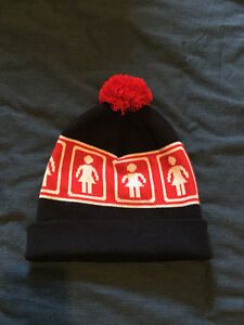 Girl Skateboard Co. red and navy pom beanie/winter hat for sale