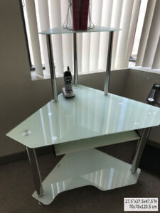 Corner Computer desk,temp. glass,Stainless steel,new in the box