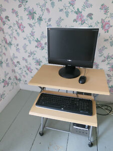 VIEWSONIC DESKTOP MONITOR, HP KEYBOARD, HP MOUSE AND DESK