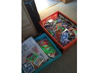 2 large boxes of football cards