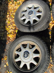 Set of 215/60R15 Tires, Studded, on Chev Rims; Very Good Tread Prince George British Columbia image 2
