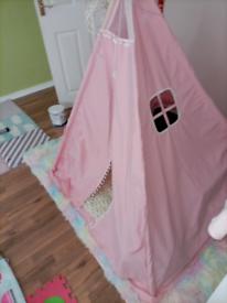 Girls pink bedroom tent