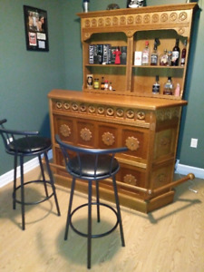 3 PIECE HAND MADE GERMAN OAK HOME BAR SET-UP