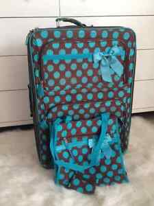 Teal & Brown polka dot suitcase and tote $50 OBO
