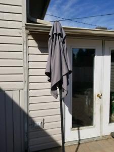Grey patio umbrella