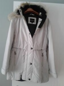Ladies coat size 14 with a real fur trim hooded coat