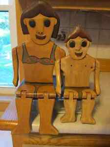 Boy & Girl SHELF SITTERS - painted wood for Hot Tub / Pool Decor