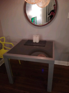 Dining Table modern grey glass metal expandable $130 obo