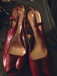 Patent leather peep toe heels
