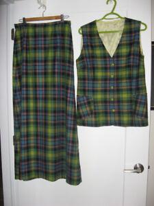Pure Wool Tartan Vest & Long Skirt  Size Medium