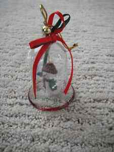 Glass Bell With Snowman Christmas Tree Ornament