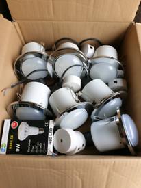 7 x R80 Chrome Downlights With 9 Watt Cool White Led Bulbs