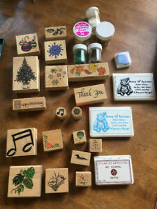 Rubber Stamps, Ink Pads + Embossing Powders (used)