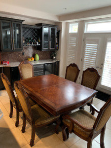 Wood Dining Set with 6 chairs and 2 inserts