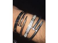 Cartier fully paved 18k love bracelets crystal silver gold and rose gold