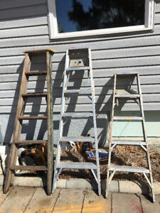wood and aluminum ladders