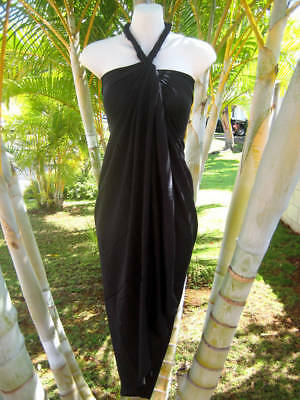 Hawaii Sarong Pareo Plus Sized Solid Black Luau Beach Cruise Wrap Beach - Plus Size Luau Dress