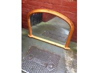 Large pine frame overmantle mirror