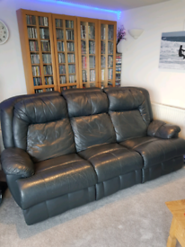 Dark grey reclining 3 seater faux leather sofa