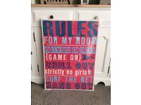 "NEXT canvas ""RULES FOR MY ROOM"""