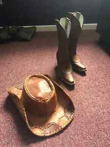 Cowboy boots and hat for sale