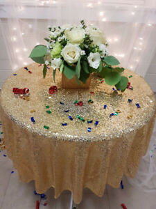 Gold Glitter Sparkly Sequin Table Cloth