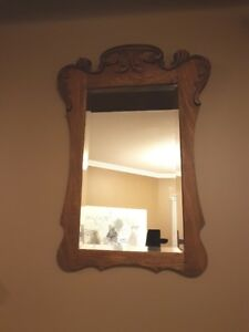 ANTIQUE GOLDEN OAK CARVED BEVELLED WALL MIRROR CANADIANA