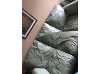 3 seater leather couch and 2 armchairs