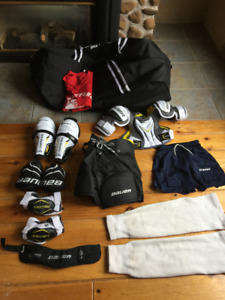 a set of hockey gear  for kids