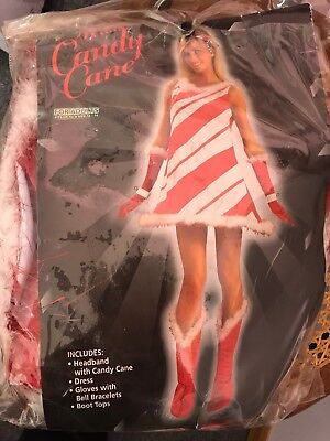 Candy Cane Costume M L Dress Boot Covers Gloves Headband Christmas - Candy Cane Costumes
