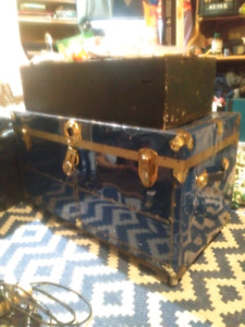 Vintage shipping trunk crate - antique metal chest with wheels