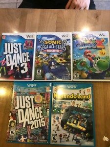 3 jeux Wii +  2 Wii U Just Dance 2015 Nintendo Land