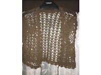 Crocheted brown shawl size 12