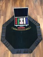 Folding poker table top with case of chips!