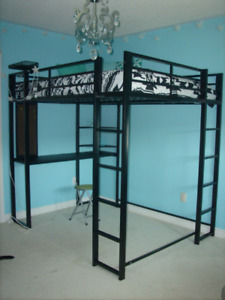 Double Loft Bed With Built-In Desk