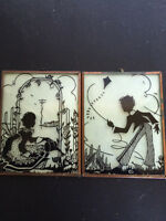 Set of 2 Silhouette Reverse Painting on Convex Glass