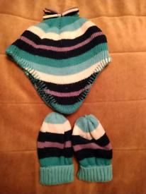 Girls Hat And Glove Set 1-2 Years