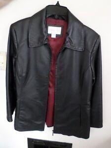 2 black leather jackets $40.00 each, 1 mini pinstripe blazer in